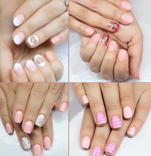 Маникюр для коротких ногтей розового цвета