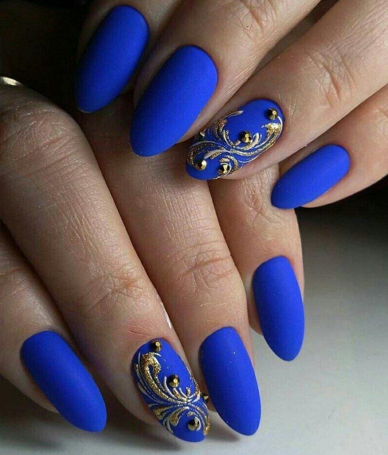наращивание ногтей в синем цвете фото дизайн этом